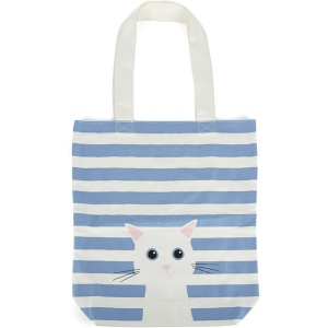 Blue Cotton Cat Tote Bag