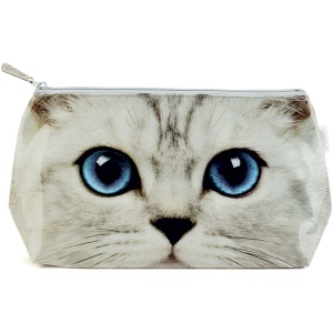 Silver Kitty Wash Bag