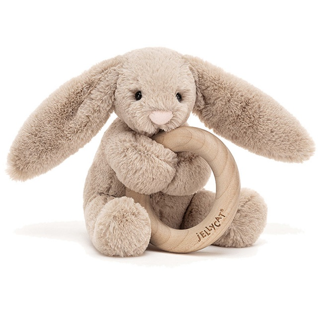 Bashful Beige Bunny Wooden Teething Ring & Rattle