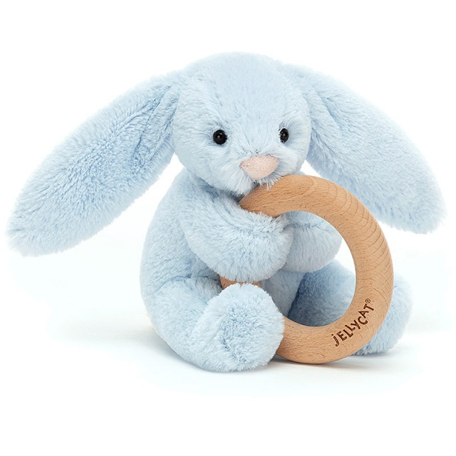 Bashful Blue Bunny Wooden Teething Ring & Rattle