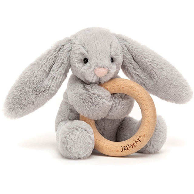 Bashful Silver Bunny Wooden Teething Ring & Rattle