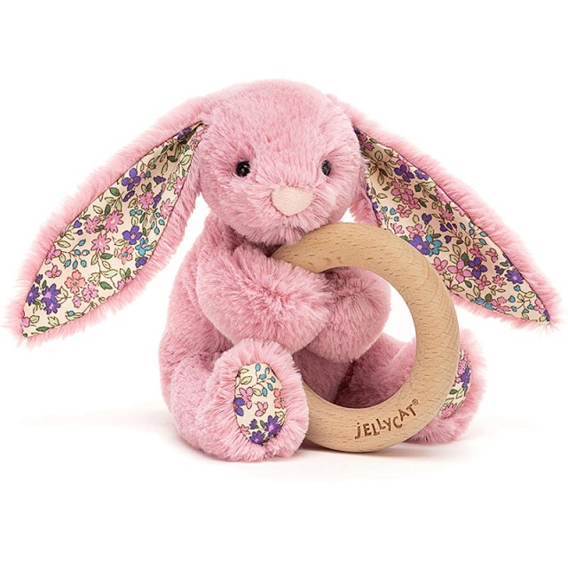 Blossom Tulip Pink Bunny Wooden Teething Ring & Rattle