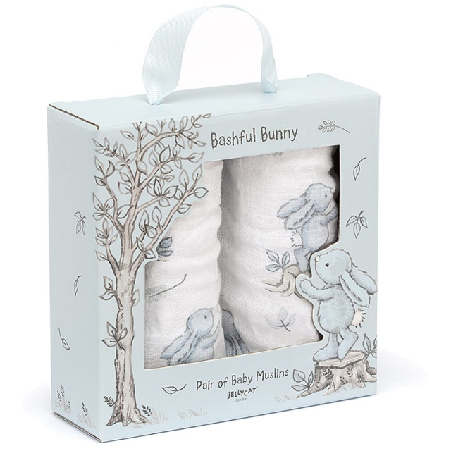 Bashful Blue Bunny Muslin Cloths