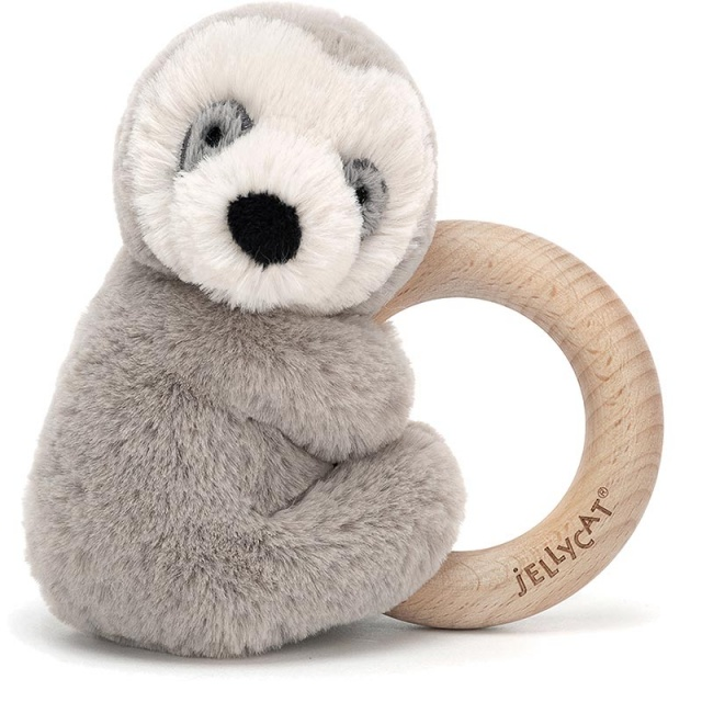 Shooshu Sloth Wooden Teething Ring & Rattle