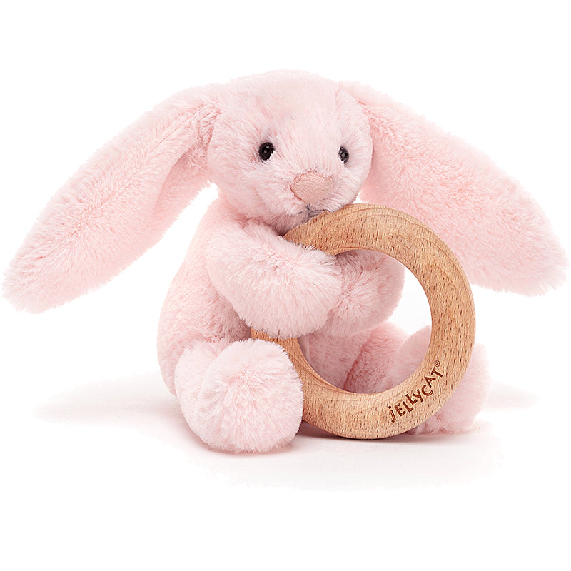 Bashful Pink Bunny Wooden Teething Ring & Rattle