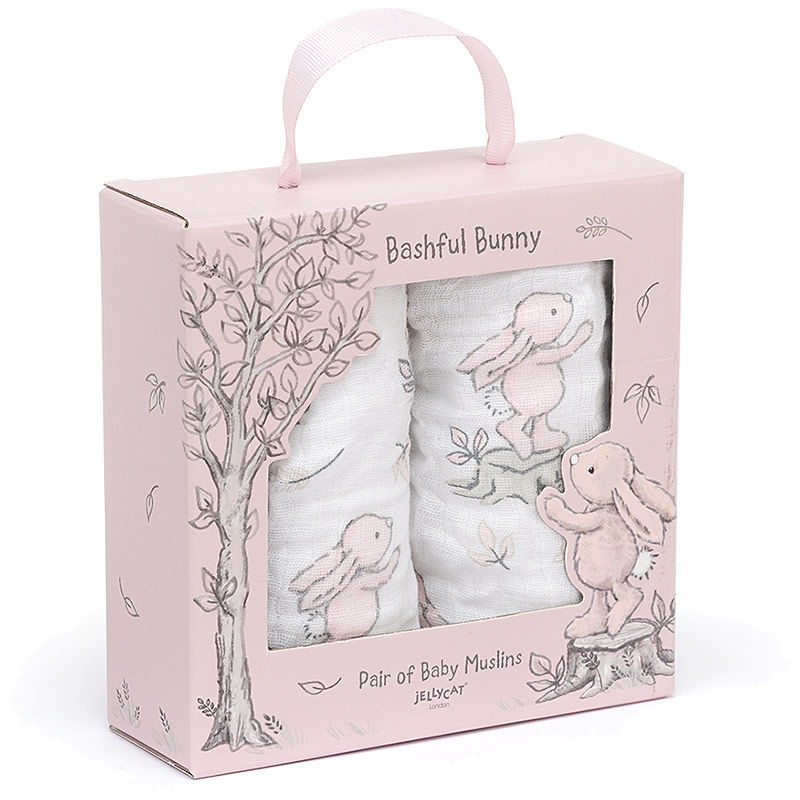 Bashful Pink Bunny Muslin Cloths