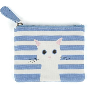 Blue Cotton Cat Coin Purse