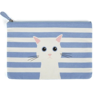 Blue Cotton Cat Large Flat Bag