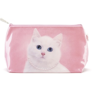 Cat with Pearl Necklace Wash Bag