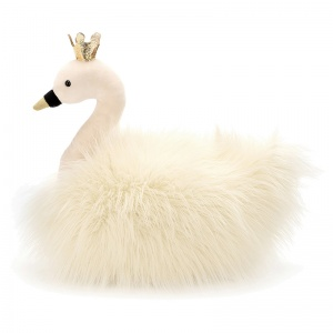 Fancy Swan Fluffy Cushion
