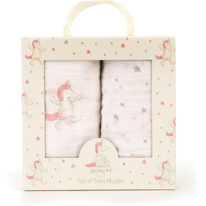 Bashful Unicorn Muslin Cloths