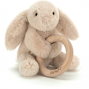 Shooshu Bunny Wooden Teething Ring & Rattle