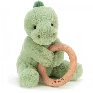 Shooshu Dino Wooden Teething Ring & Rattle
