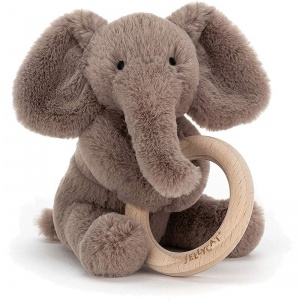 Shooshu Elephant Wooden Teething Ring & Rattle