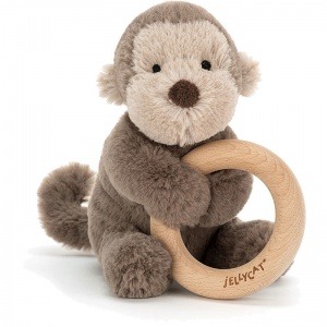 Shooshu Monkey Wooden Teething Ring & Rattle