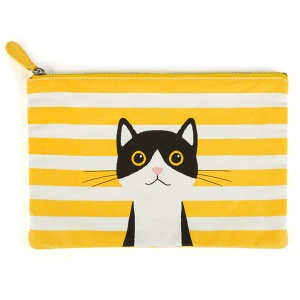 Yellow Cotton Cat Large Flat Bag